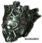 DEAD KING SKULL BELT BUCKLE + display stand